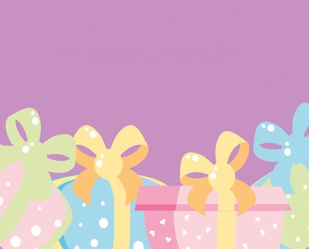 Set geschenkdozen presenteert geïsoleerde pictogram