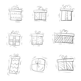 Set geschenken in de hand getekende stijl doodle voor feesten