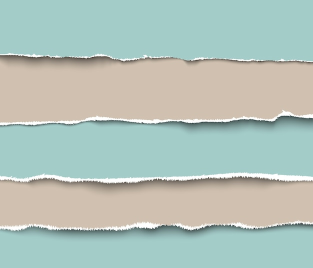 Set gescheurde stukjes ambachtelijk papier met ruwe randen, realistische afbeelding. verzameling van gescheurde papieren pagina's
