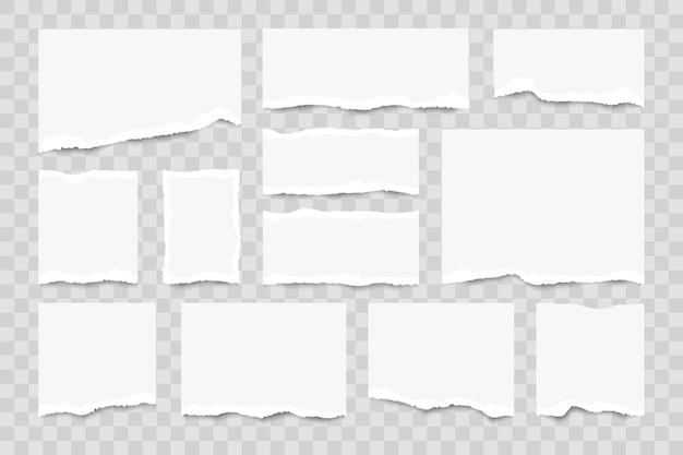 Set gescheurde vellen papier op transparant