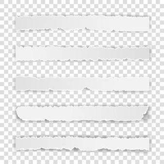 Set gescheurde witte notitie