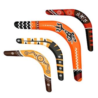 Set geschilderd traditionele australische boemerang tools vectorillustratie geïsoleerd op een witte achtergrond. verzameling van decoratieve inheemse wapens