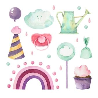 Set geschilderde chuva de amor decoratie-elementen