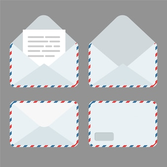 Set gesloten en open envelop met document erin. nieuwe brief ontvangen of verzenden. e-mailpictogram geïsoleerd.