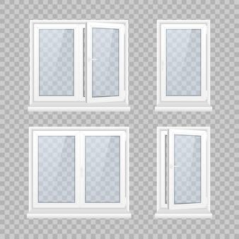 Set gesloten raam met transparant glas in een wit frame.