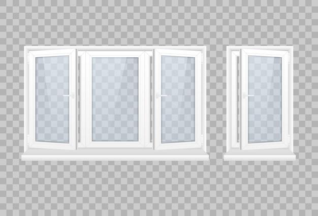 Set gesloten raam met transparant glas in een wit frame