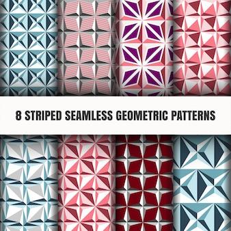 Set gestreepte naadloze geometrische patronen