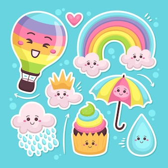 Set getekende chuva de amor decoratie-elementen