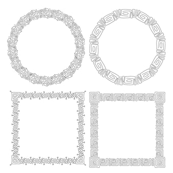 Set getekende elegante sierlijsten