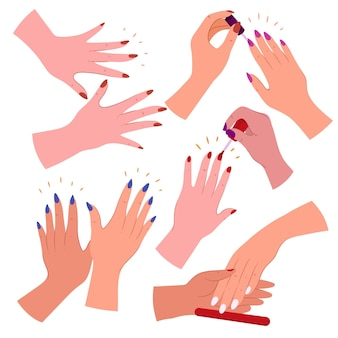 Set getekende manicure hand