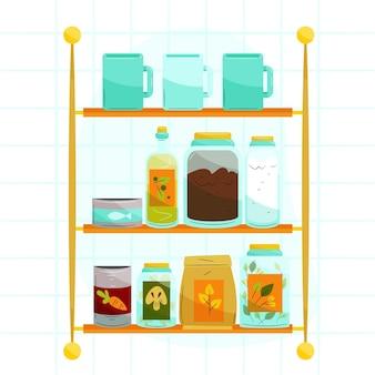 Set getekende pantry met verschillende voedingsmiddelen