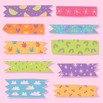 Set getekende schattige washi-tapes