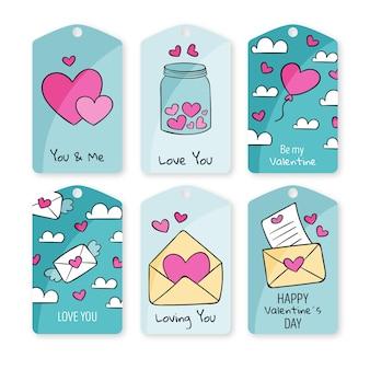 Set getekende valentijnsdag etiketten