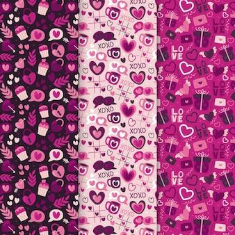 Set getekende valentijnsdag patronen