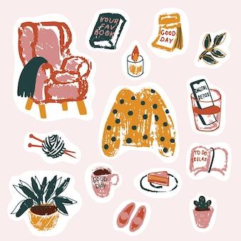 Set gezellige stickers voor een goede dag, met de hand getekend in een eenvoudige minimalistische stijl met veel textuur