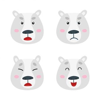 Set gezichten van ijsbeeremoties