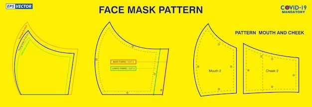 Set gezichtsmasker industrieel patroonontwerp of patroon voor het maken van een medisch masker
