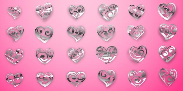 Set glanzende zilveren hartsymbolen met krullen, blikken en schaduwen op roze achtergrond