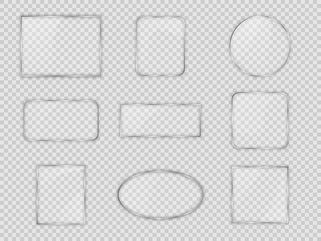 Set glasplaten in verschillende geometrische vormen op transparante achtergrond. vector illustratie