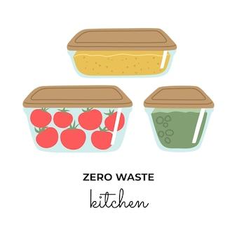 Set glazen containers voor voedsel