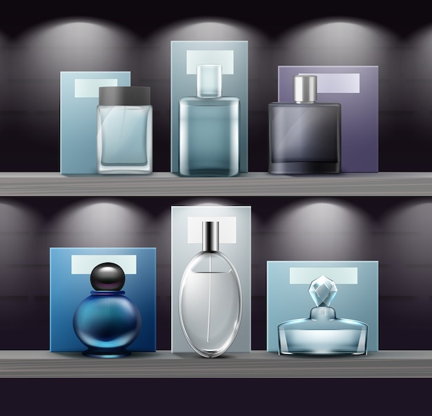 Set glazen flessen parfum op de plank in de winkel. afgelegen, vooraanzicht