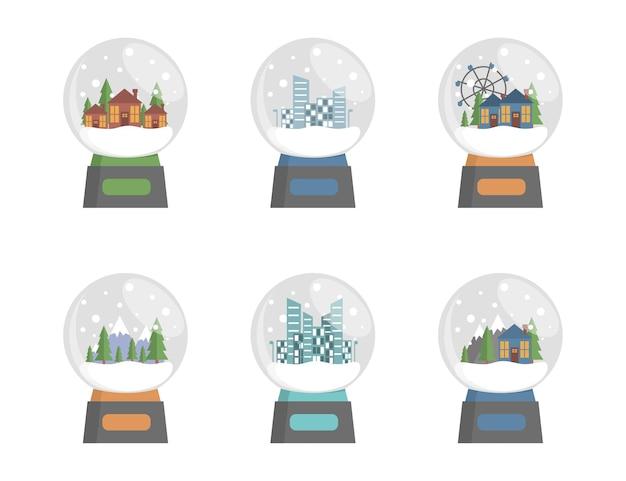 Set glazen sneeuwbollen met stad landschap dorpen bos