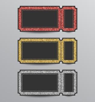 Set glinsterende stub ticket sjablonen in rode, gouden en zilveren kleuren.