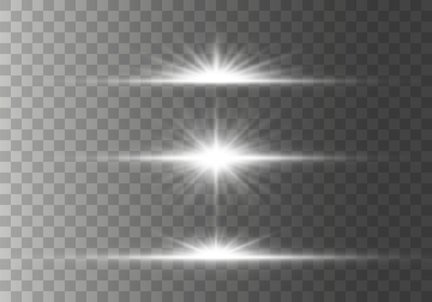 Set gloeiende horizontale starlight lens fakkels, stralen