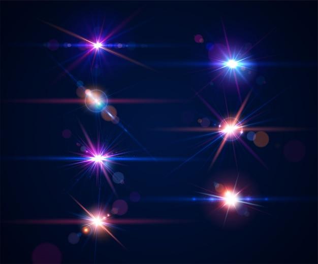 Set gloeiende lensfakkels. sprankelende lichteffecten van verblindende flits