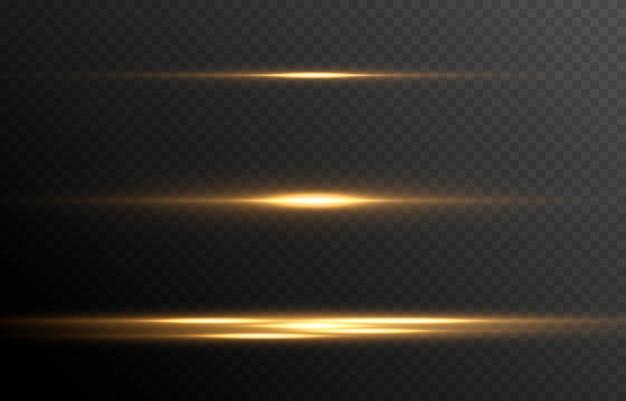 Set gloeiende lichtlijnen magische gloed neon gloeiende lijnen png horizontale flits vector afbeelding Premium Vector