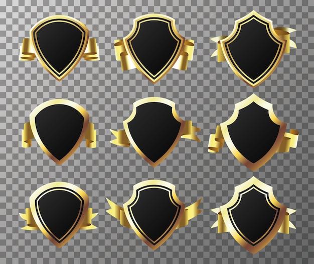 Set goldenseal met linten geïsoleerd op transparante achtergrond