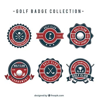 Set golf badges in vlakke stijl