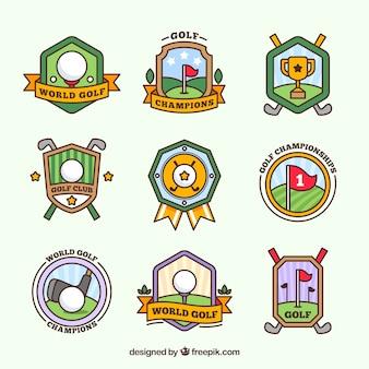 Set golf badges in vlakke stijl
