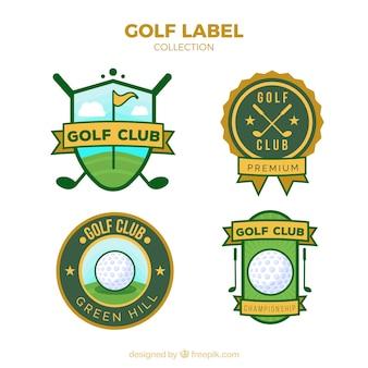 Set golf labels in vlakke stijl