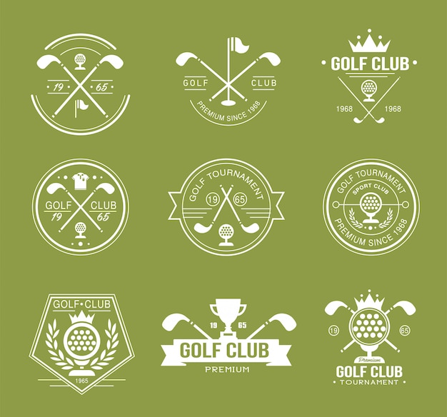 Set golfclub logo's, etiketten en emblemen