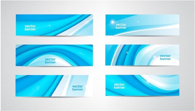 Set golvende banners, blauwe golf web headers. water levendige abstracte achtergrond, horizontale oriëntatie.