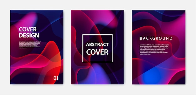 Set golvende poster covers met levendige kleurverloop achtergrond in kleur. trendy moderne vormgeving.