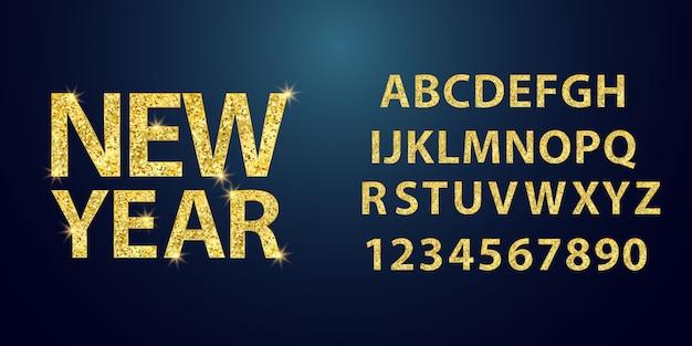 Set goud lettertype vormen samenstelling.