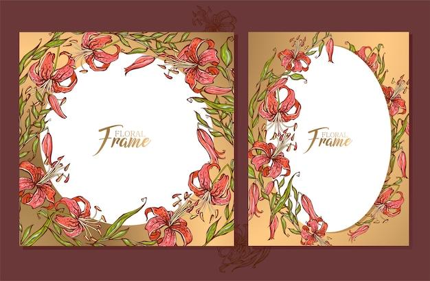 Set gouden bruiloft frames kaarten met een boeket van lelies