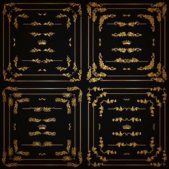 Set gouden decoratieve randen, frame