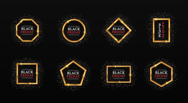 Set gouden geometrische frames voor black friday gold glinsterende frames voor verkoop