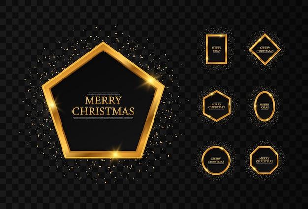 Set gouden geometrische frames voor kerst, kerst en nieuwjaarskaart