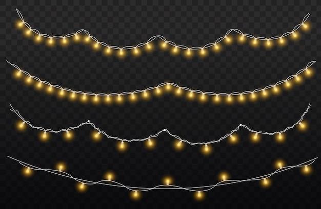 Set gouden gloeiende guirlande led neonlamp