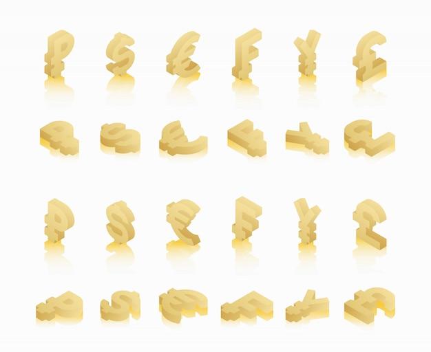 Set gouden isometrische symbolen van verschillende valuta's