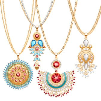 Set gouden kettingen met verschillende hangers. kostbare kettingen. etnische indiase stijl broches hangers met edelstenen parels. inclusief kettingenborstels. Premium Vector