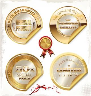 Set gouden premium kwaliteitslabels