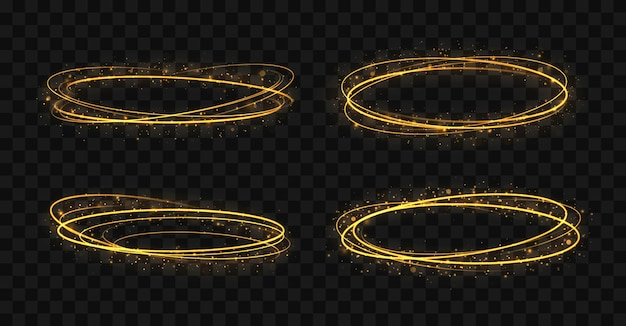 Set gouden ringen gouden cirkels frames met glitter lichteffect