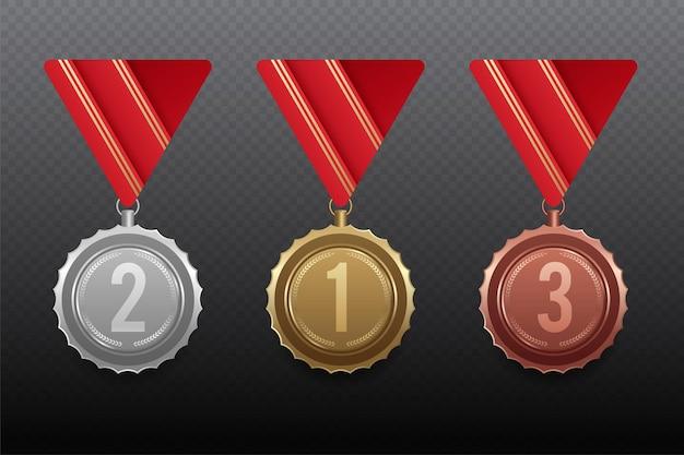 Set gouden, zilveren en bronzen medailles