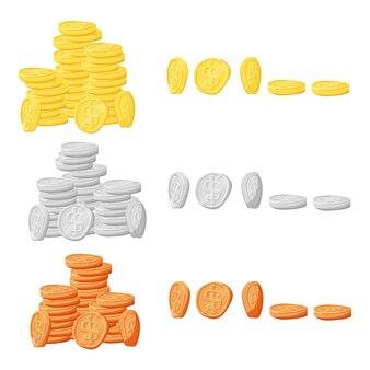 Set gouden zilveren en koperen munten