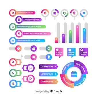 Set gradiënt infographic elementen